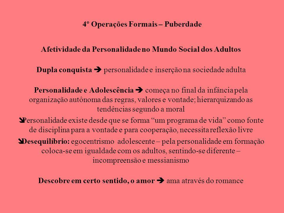 4º Operações Formais – Puberdade Afetividade da Personalidade no Mundo Social dos Adultos Dupla conquista personalidade e inserção na sociedade adulta