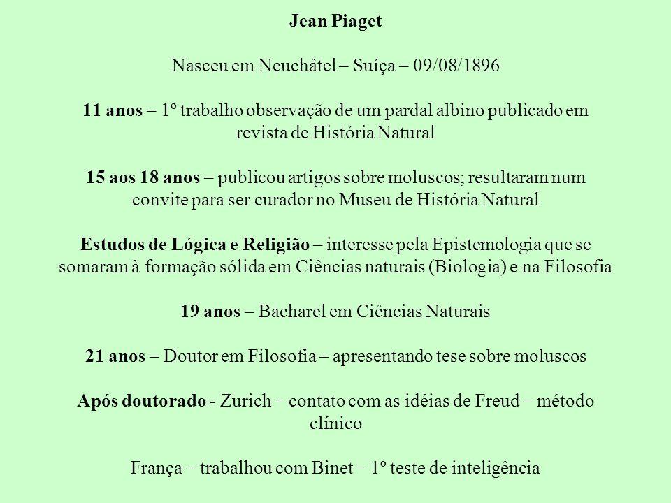 Jean Piaget Nasceu em Neuchâtel – Suíça – 09/08/1896 11 anos – 1º trabalho observação de um pardal albino publicado em revista de História Natural 15