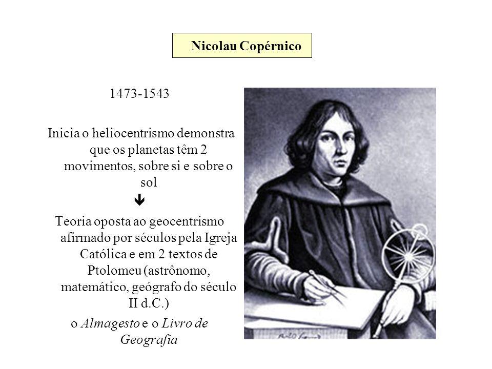 Nicolau Copérnico 1473-1543 Inicia o heliocentrismo demonstra que os planetas têm 2 movimentos, sobre si e sobre o sol Teoria oposta ao geocentrismo a