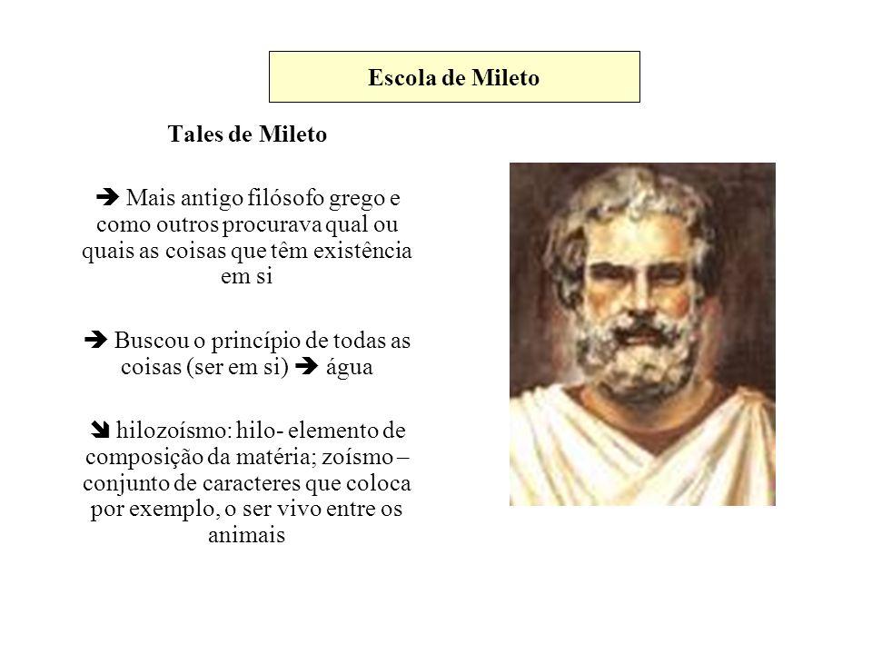 Tales de Mileto Mais antigo filósofo grego e como outros procurava qual ou quais as coisas que têm existência em si Buscou o princípio de todas as coi