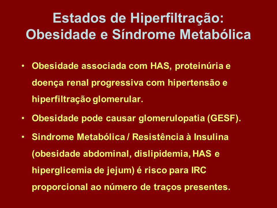 Estados de Hiperfiltração: Obesidade e Síndrome Metabólica Obesidade associada com HAS, proteinúria e doença renal progressiva com hipertensão e hiper