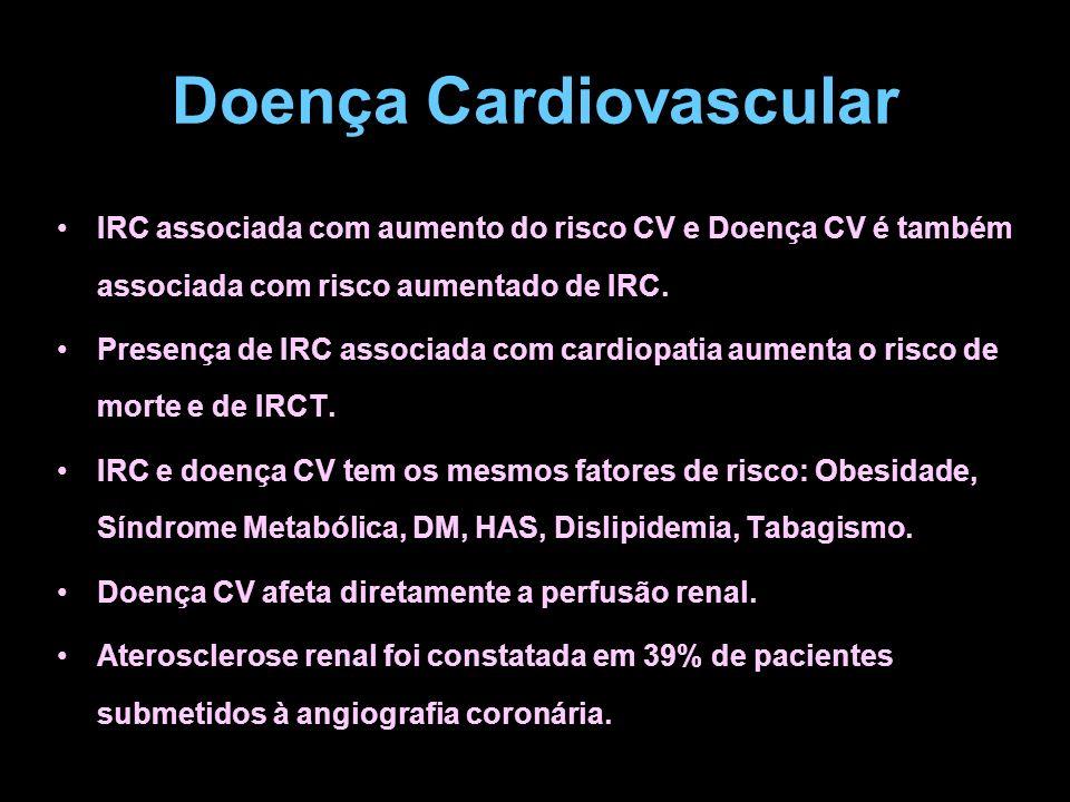 Doença Cardiovascular IRC associada com aumento do risco CV e Doença CV é também associada com risco aumentado de IRC. Presença de IRC associada com c