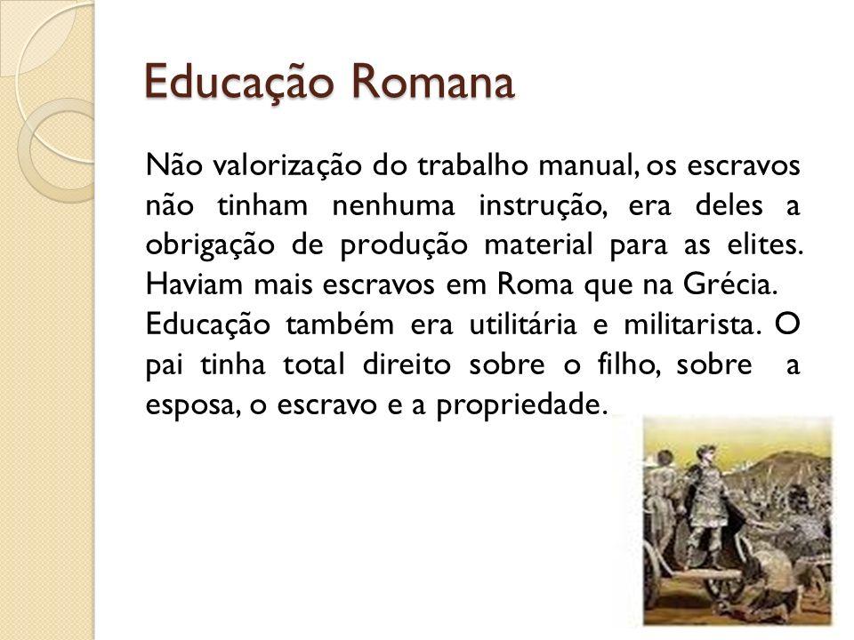 Educação Romana Não valorização do trabalho manual, os escravos não tinham nenhuma instrução, era deles a obrigação de produção material para as elite