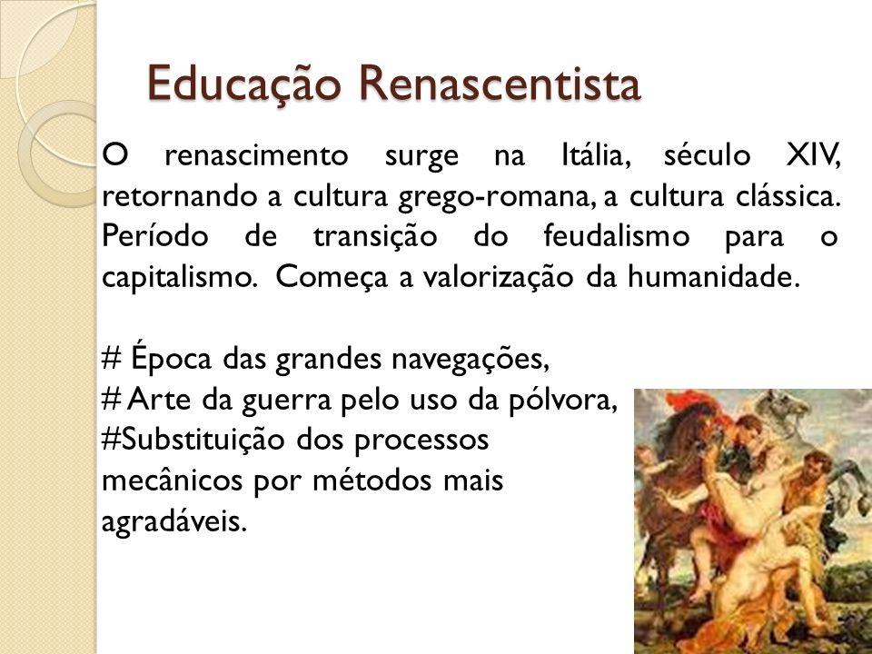 Educação Renascentista O renascimento surge na Itália, século XIV, retornando a cultura grego-romana, a cultura clássica. Período de transição do feud