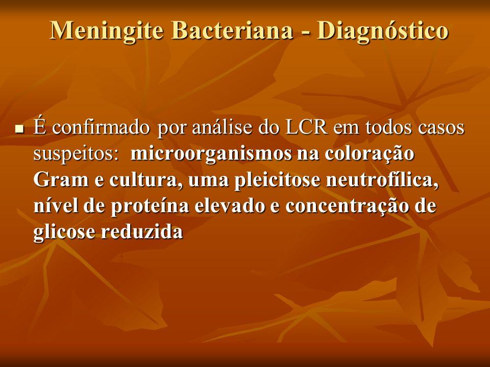 Meningite Bacteriana - Diagnóstico É confirmado por análise do LCR em todos casos suspeitos: microorganismos na coloração Gram e cultura, uma pleicitose neutrofílica, nível de proteína elevado e concentração de glicose reduzida É confirmado por análise do LCR em todos casos suspeitos: microorganismos na coloração Gram e cultura, uma pleicitose neutrofílica, nível de proteína elevado e concentração de glicose reduzida
