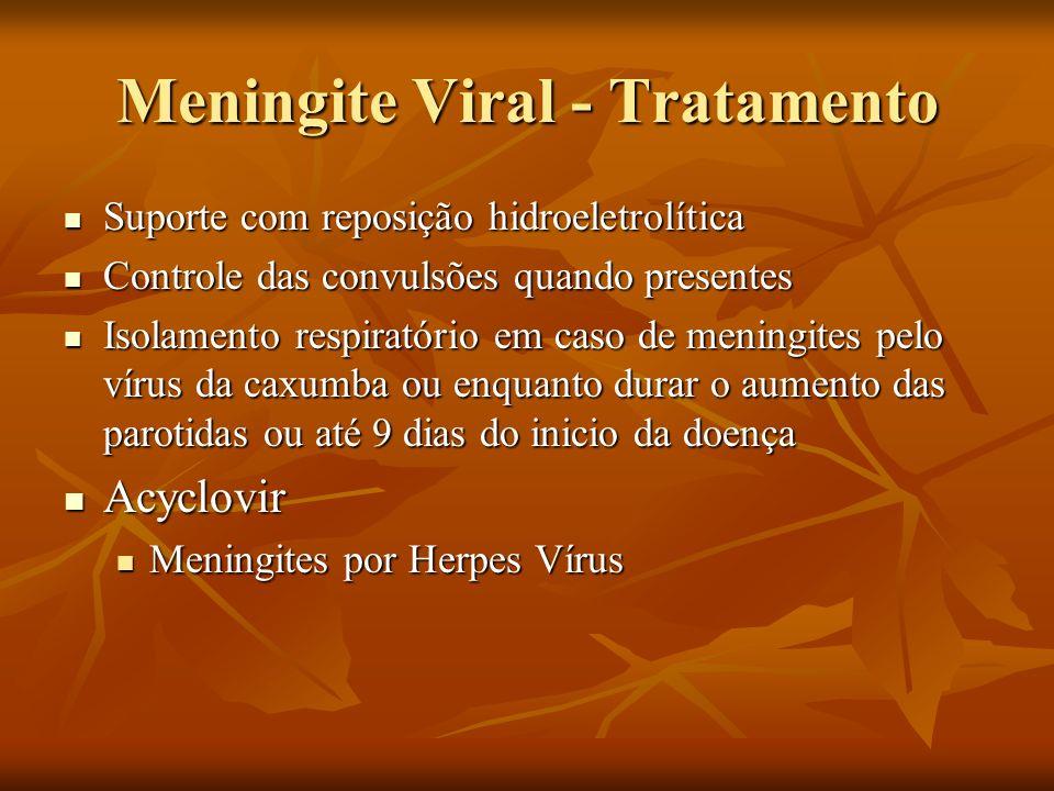 Meningite Viral - Tratamento Suporte com reposição hidroeletrolítica Suporte com reposição hidroeletrolítica Controle das convulsões quando presentes