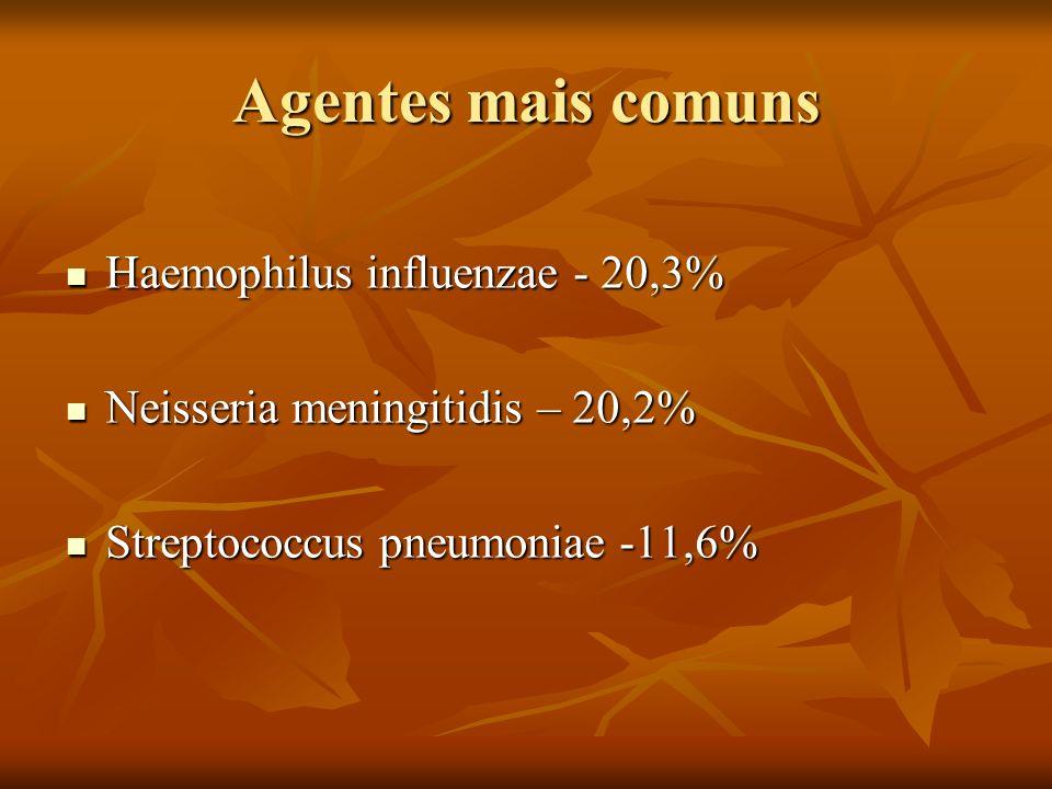 Agentes mais comuns Haemophilus influenzae - 20,3% Haemophilus influenzae - 20,3% Neisseria meningitidis – 20,2% Neisseria meningitidis – 20,2% Strept
