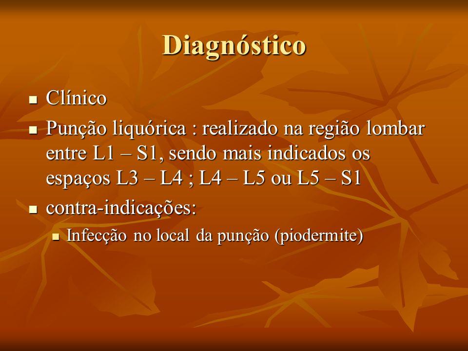 Diagnóstico Clínico Clínico Punção liquórica : realizado na região lombar entre L1 – S1, sendo mais indicados os espaços L3 – L4 ; L4 – L5 ou L5 – S1 Punção liquórica : realizado na região lombar entre L1 – S1, sendo mais indicados os espaços L3 – L4 ; L4 – L5 ou L5 – S1 contra-indicações: contra-indicações: Infecção no local da punção (piodermite) Infecção no local da punção (piodermite)