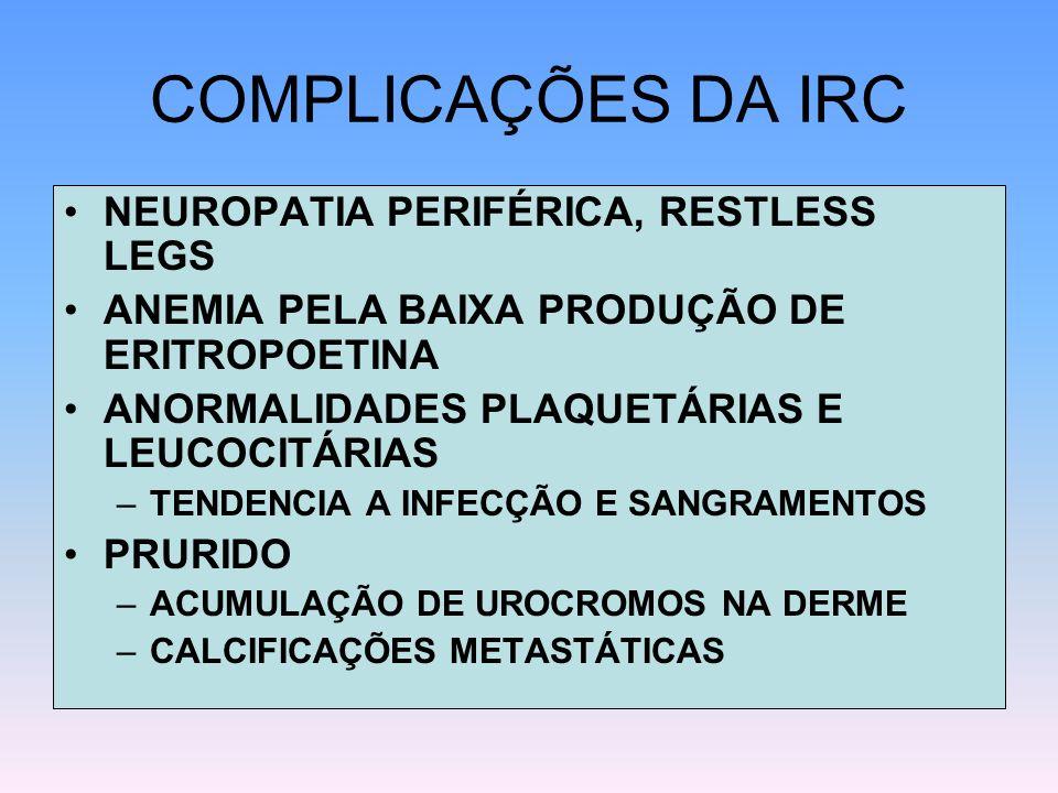 COMPLICAÇÕES DA IRC NEUROPATIA PERIFÉRICA, RESTLESS LEGS ANEMIA PELA BAIXA PRODUÇÃO DE ERITROPOETINA ANORMALIDADES PLAQUETÁRIAS E LEUCOCITÁRIAS –TENDE