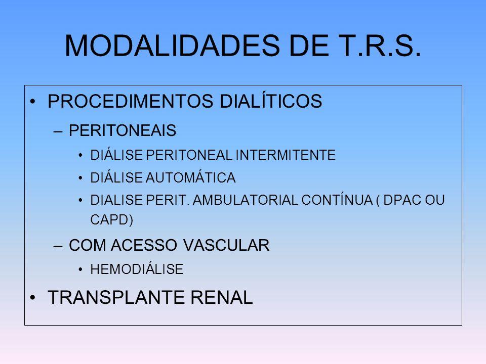 MODALIDADES DE T.R.S. PROCEDIMENTOS DIALÍTICOS –PERITONEAIS DIÁLISE PERITONEAL INTERMITENTE DIÁLISE AUTOMÁTICA DIALISE PERIT. AMBULATORIAL CONTÍNUA (