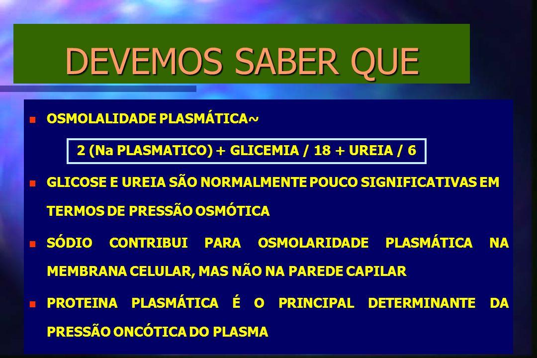 DEVEMOS SABER QUE n n OSMOLALIDADE PLASMÁTICA~ 2 (Na PLASMATICO) + GLICEMIA / 18 + UREIA / 6 n n GLICOSE E UREIA SÃO NORMALMENTE POUCO SIGNIFICATIVAS