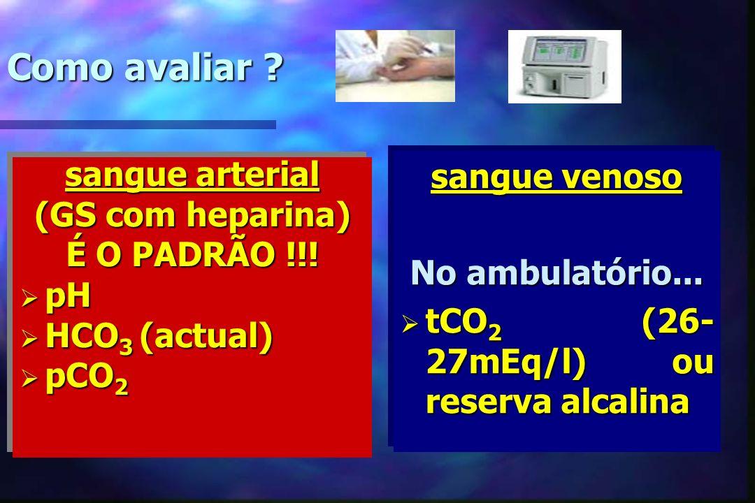 Como avaliar ? sangue arterial (GS com heparina) É O PADRÃO !!! pH pH HCO 3 (actual) HCO 3 (actual) pCO 2 pCO 2 sangue arterial (GS com heparina) É O