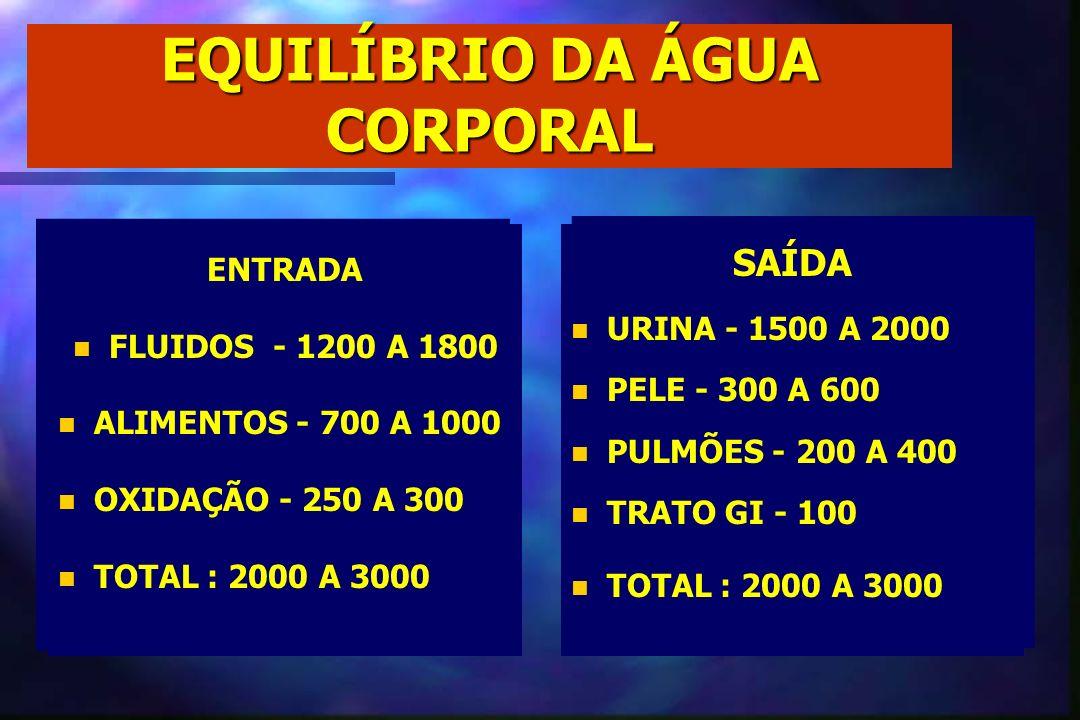 EQUILÍBRIO DA ÁGUA CORPORAL ENTRADA n n FLUIDOS - 1200 A 1800 n n ALIMENTOS - 700 A 1000 n n OXIDAÇÃO - 250 A 300 n n TOTAL : 2000 A 3000 ENTRADA n n