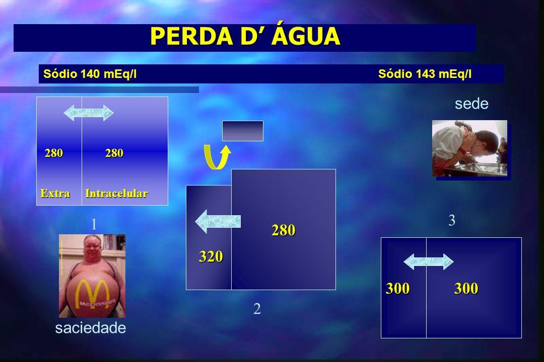 PERDA D ÁGUA 280 300 300 280 280 320 1 2 3 Extra Intracelular sede saciedade Sódio 140 mEq/l Sódio 143 mEq/l