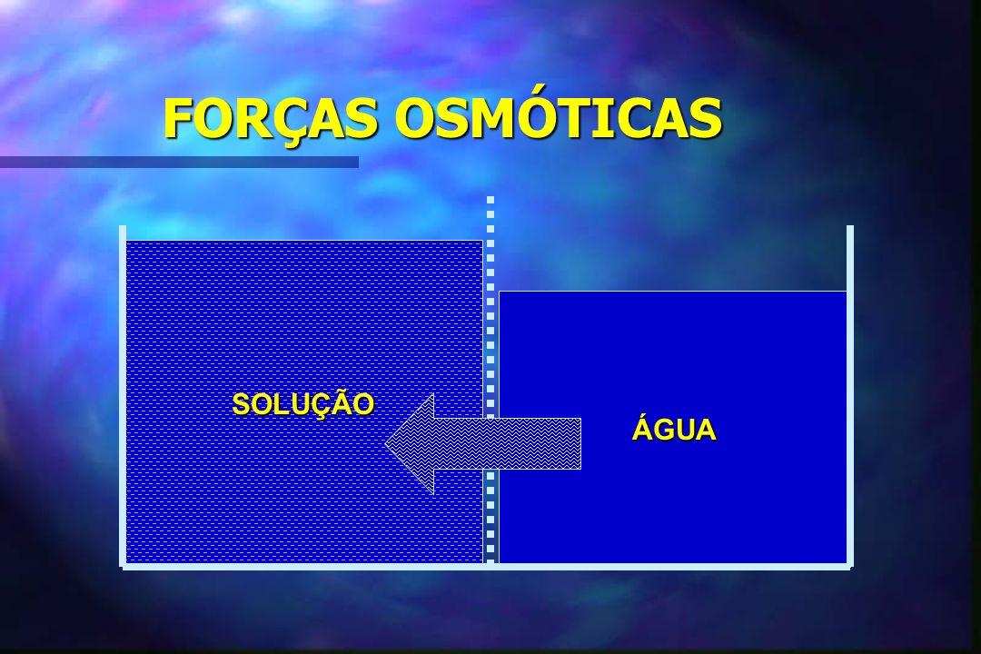 FORÇAS OSMÓTICAS SOLUÇÃO ÁGUA ÁGUA