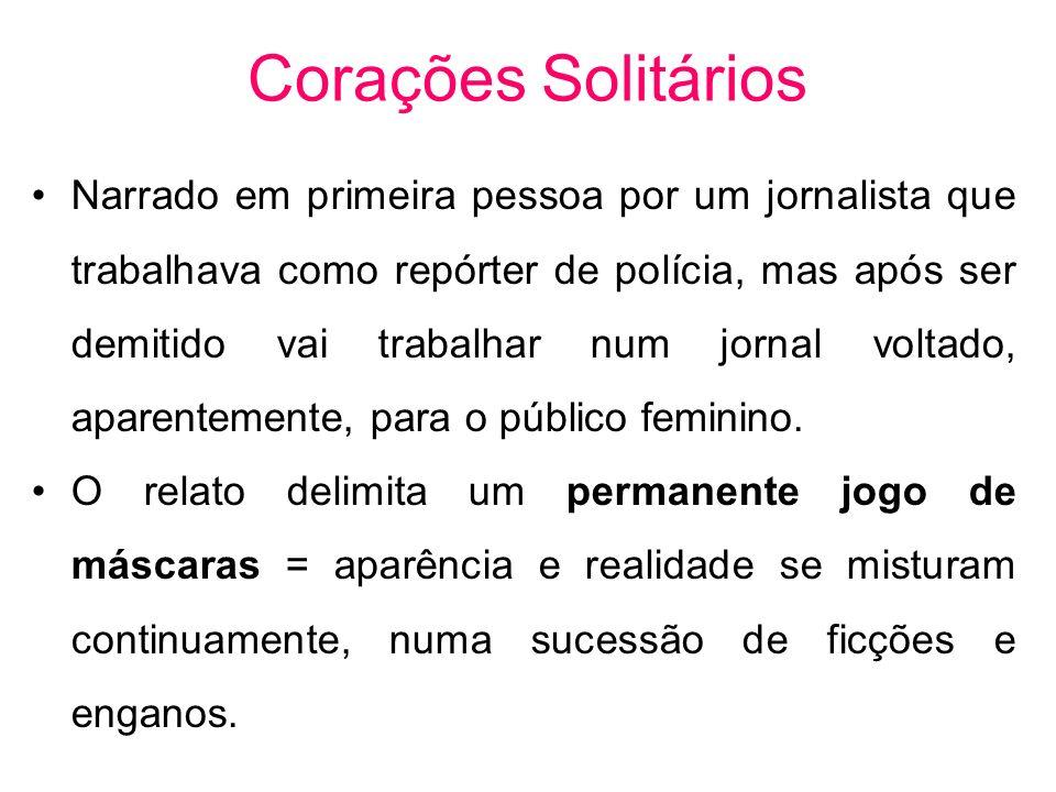 Corações Solitários Narrado em primeira pessoa por um jornalista que trabalhava como repórter de polícia, mas após ser demitido vai trabalhar num jorn