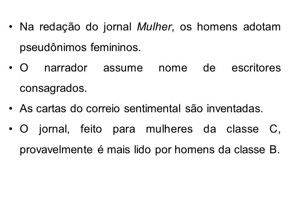 Na redação do jornal Mulher, os homens adotam pseudônimos femininos. O narrador assume nome de escritores consagrados. As cartas do correio sentimenta