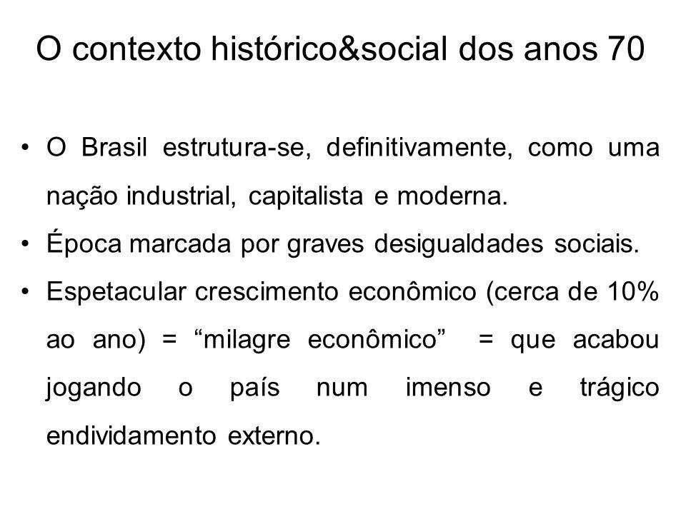 O contexto histórico&social dos anos 70 O Brasil estrutura-se, definitivamente, como uma nação industrial, capitalista e moderna. Época marcada por gr