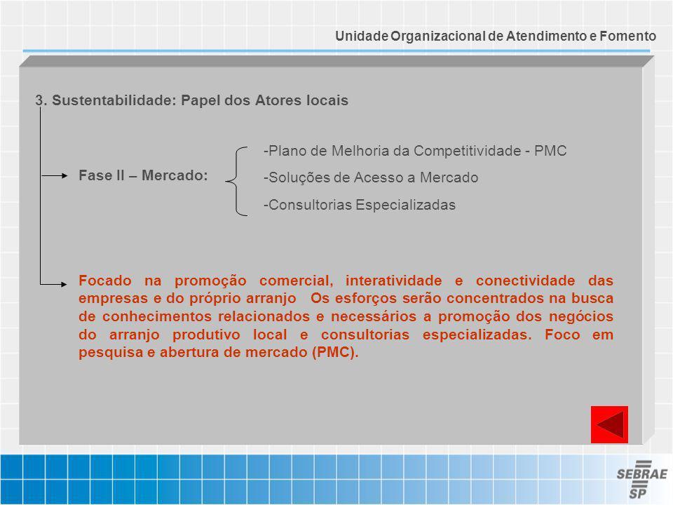 3. Sustentabilidade: Papel dos Atores locais Fase II – Mercado: Focado na promoção comercial, interatividade e conectividade das empresas e do próprio