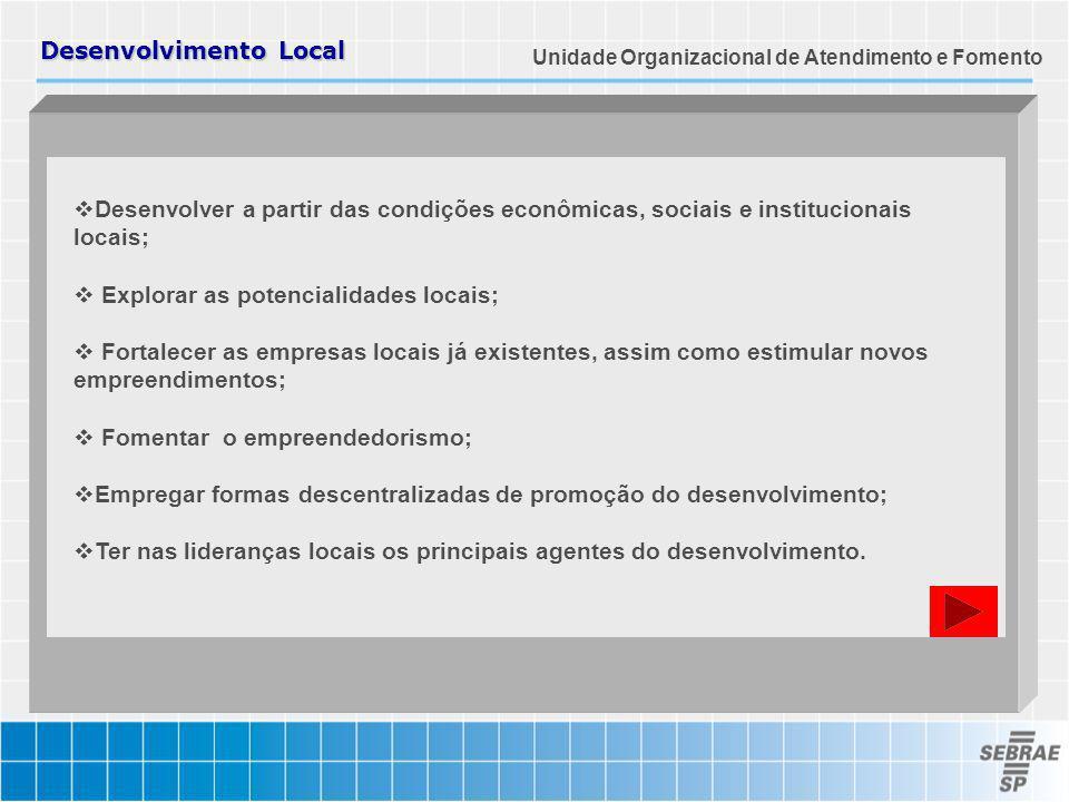 Desenvolvimento Local Desenvolver a partir das condições econômicas, sociais e institucionais locais; Explorar as potencialidades locais; Fortalecer a