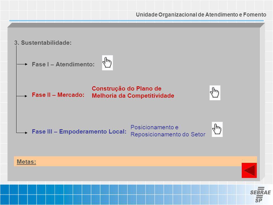 Fase I – Atendimento: Fase II – Mercado: Fase III – Empoderamento Local: 3. Sustentabilidade: Construção do Plano de Melhoria da Competitividade Posic