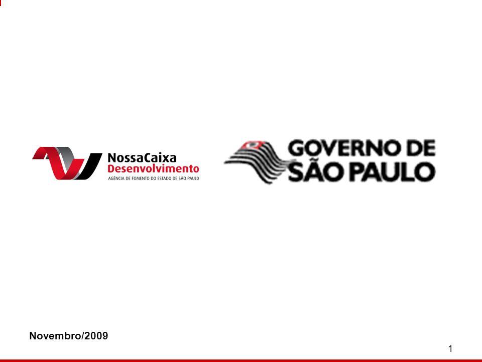 2 Em 10/03/09 o Estado de São Paulo alienou o controle do Banco Nossa Caixa ao Banco do Brasil Em 11/03/09 foi constituída a Nossa Caixa Desenvolvimento – Agência de Fomento do Estado de São Paulo Controlada pelo Estado de SP Capital autorizado de R$ 1 bilhão Capital integralizado de R$ 400 milhões A NOSSA CAIXA DESENVOLVIMENTO
