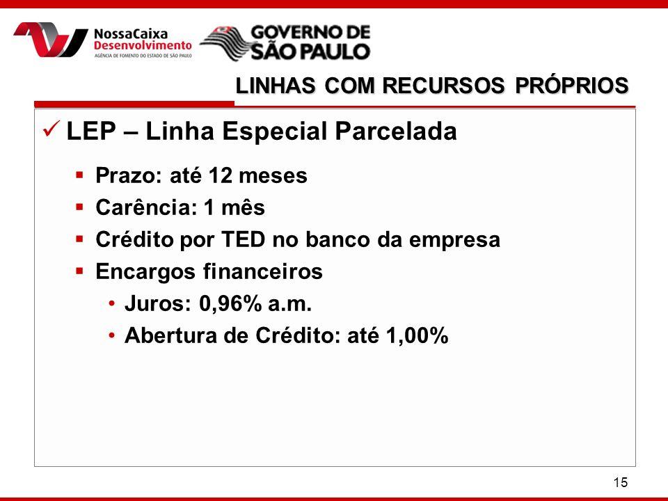 15 LEP – Linha Especial Parcelada Prazo: até 12 meses Carência: 1 mês Crédito por TED no banco da empresa Encargos financeiros Juros: 0,96% a.m.