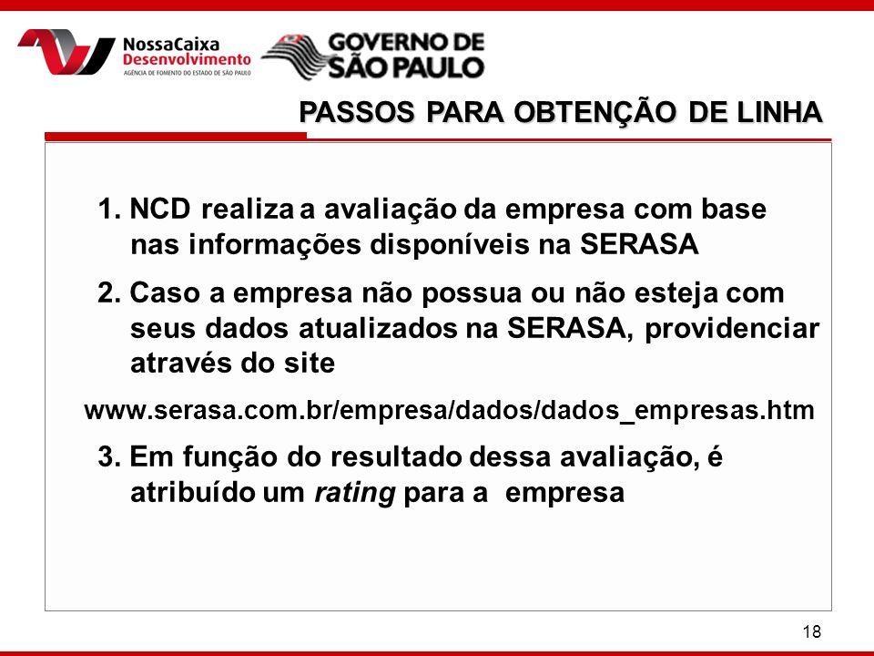 18 1. NCD realiza a avaliação da empresa com base nas informações disponíveis na SERASA 2.