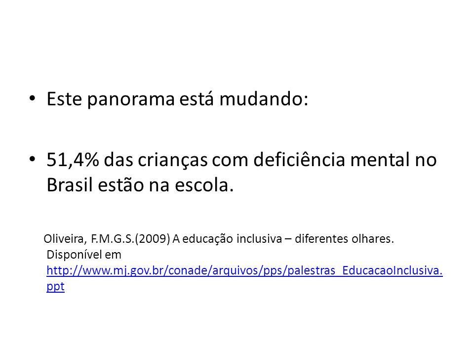 Este panorama está mudando: 51,4% das crianças com deficiência mental no Brasil estão na escola. Oliveira, F.M.G.S.(2009) A educação inclusiva – difer