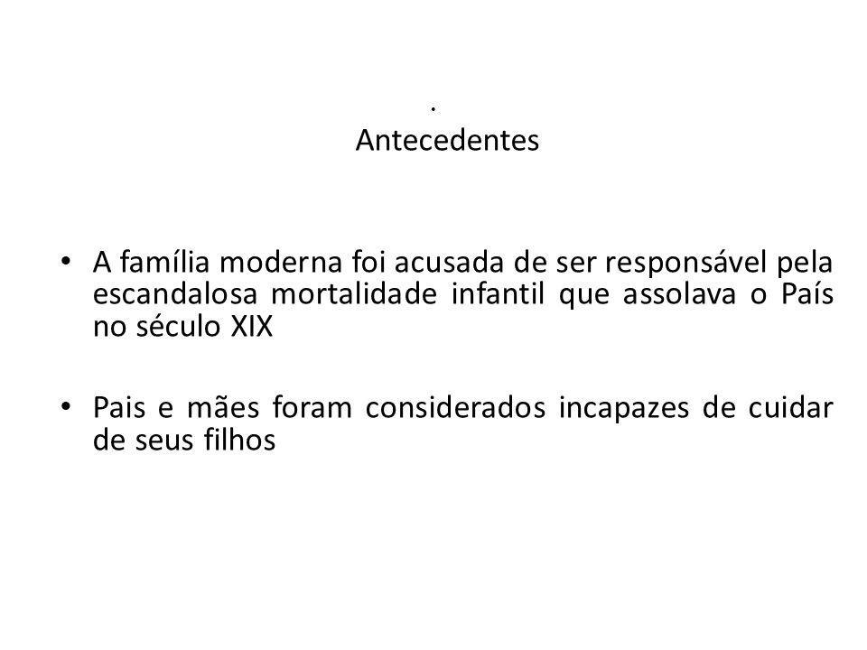 Antecedentes A família moderna foi acusada de ser responsável pela escandalosa mortalidade infantil que assolava o País no século XIX Pais e mães fora