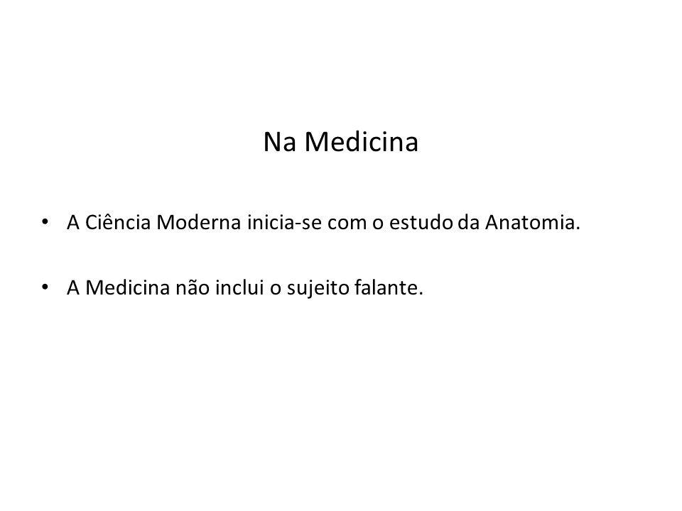 Na Medicina A Ciência Moderna inicia-se com o estudo da Anatomia. A Medicina não inclui o sujeito falante.