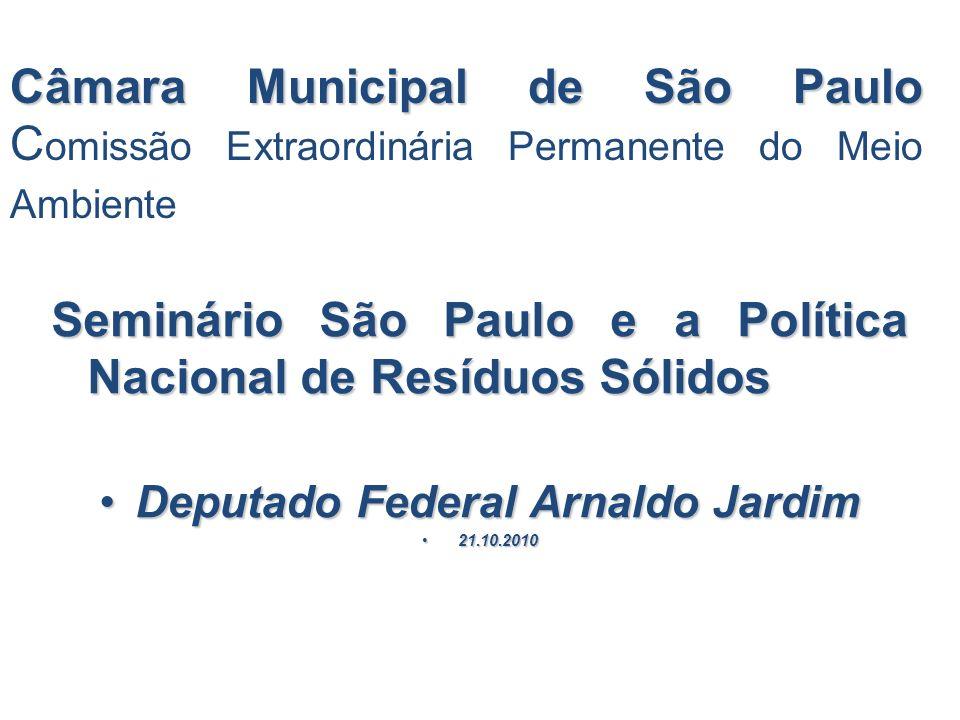 Câmara Municipal de São Paulo Câmara Municipal de São Paulo C omissão Extraordinária Permanente do Meio Ambiente Seminário São Paulo e a Política Naci
