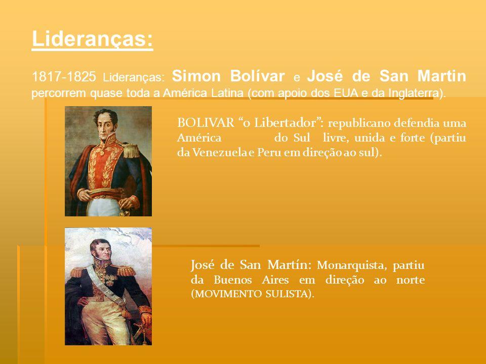 Lideranças: 1817-1825 Lideranças: Simon Bolívar e José de San Martin percorrem quase toda a América Latina (com apoio dos EUA e da Inglaterra). BOLIVA