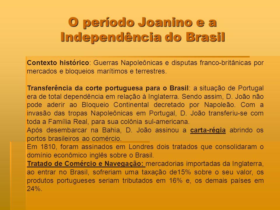 O período Joanino e a Independência do Brasil Contexto histórico: Guerras Napoleônicas e disputas franco-britânicas por mercados e bloqueios marítimos