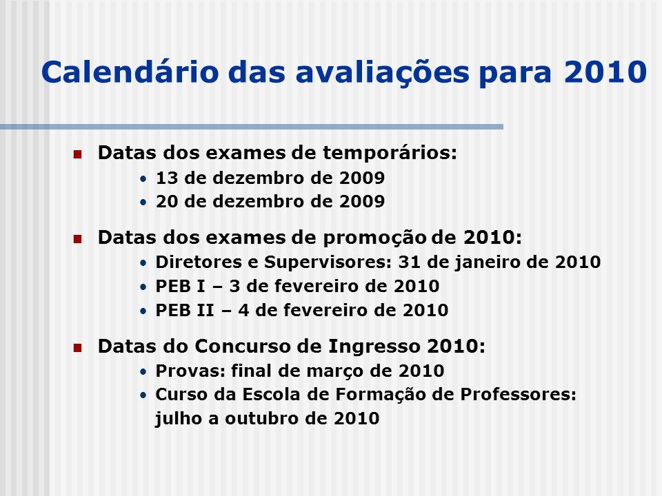 Calendário das avaliações para 2010 Datas dos exames de temporários: 13 de dezembro de 2009 20 de dezembro de 2009 Datas dos exames de promoção de 2010: Diretores e Supervisores: 31 de janeiro de 2010 PEB I – 3 de fevereiro de 2010 PEB II – 4 de fevereiro de 2010 Datas do Concurso de Ingresso 2010: Provas: final de março de 2010 Curso da Escola de Formação de Professores: julho a outubro de 2010