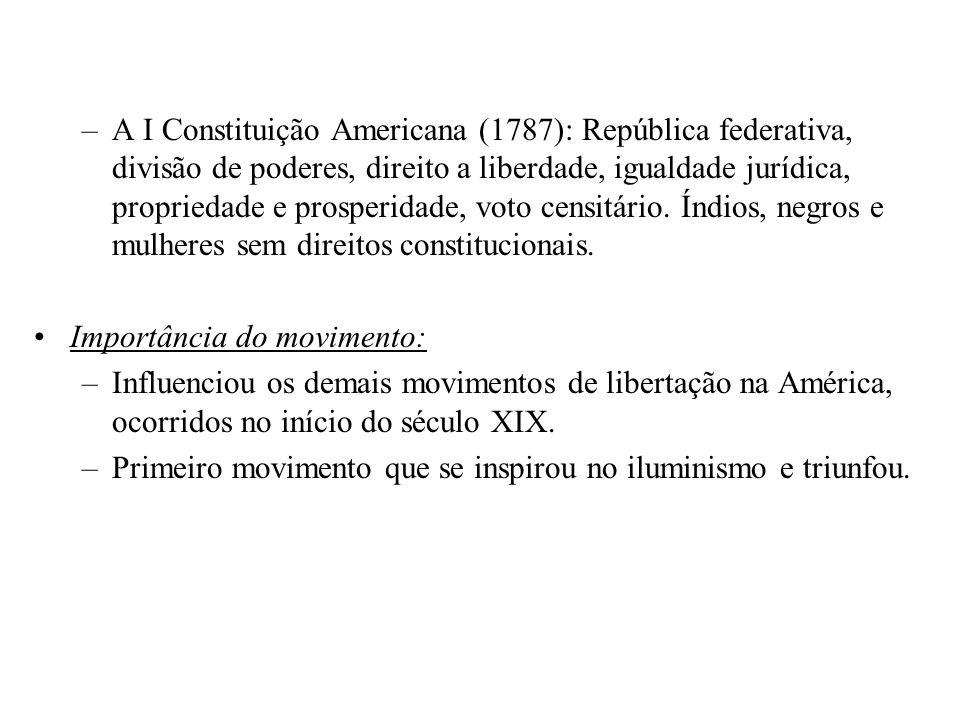 –A I Constituição Americana (1787): República federativa, divisão de poderes, direito a liberdade, igualdade jurídica, propriedade e prosperidade, vot