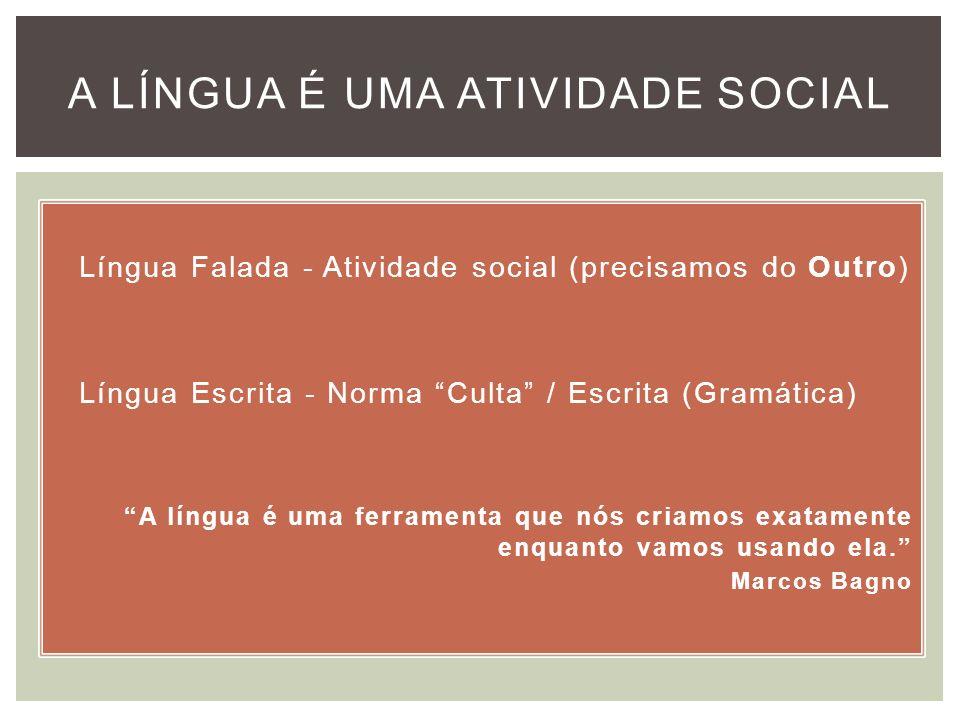 Língua Falada - Atividade social (precisamos do Outro) Língua Escrita - Norma Culta / Escrita (Gramática) A língua é uma ferramenta que nós criamos ex