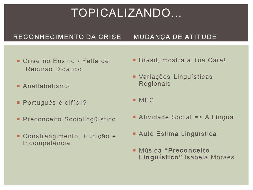Crise no Ensino / Falta de Recurso Didático Analfabetismo Português é difícil? Preconceito Sociolingüístico Constrangimento, Punição e Incompetência.