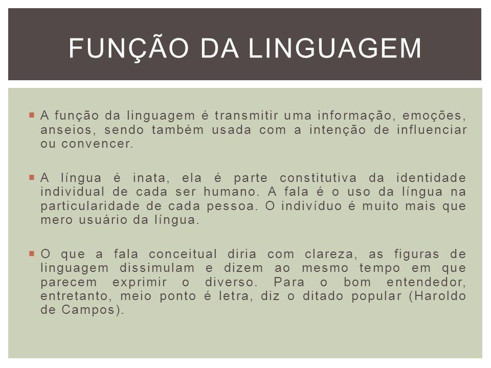 FUNÇÃO DA LINGUAGEM A função da linguagem é transmitir uma informação, emoções, anseios, sendo também usada com a intenção de influenciar ou convencer