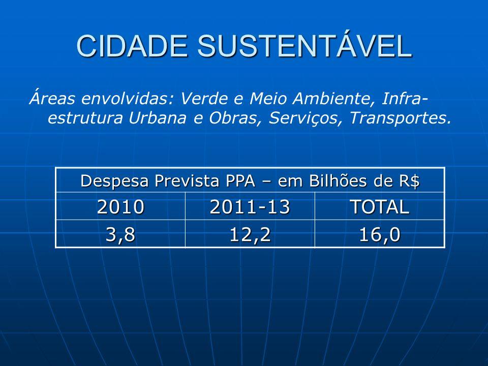 CIDADE SUSTENTÁVEL Despesa Prevista PPA – em Bilhões de R$ 20102011-13TOTAL 3,812,216,0 Áreas envolvidas: Verde e Meio Ambiente, Infra- estrutura Urbana e Obras, Serviços, Transportes.