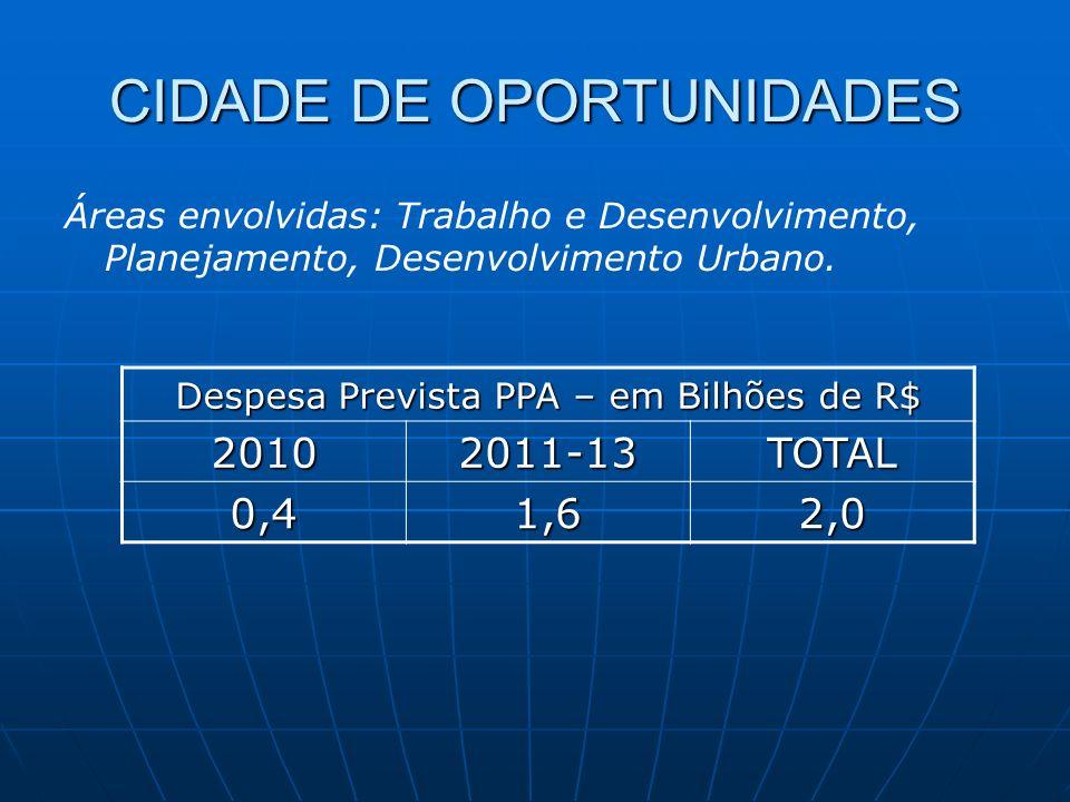 CIDADE DE OPORTUNIDADES Despesa Prevista PPA – em Bilhões de R$ 20102011-13TOTAL 0,41,62,0 Áreas envolvidas: Trabalho e Desenvolvimento, Planejamento, Desenvolvimento Urbano.