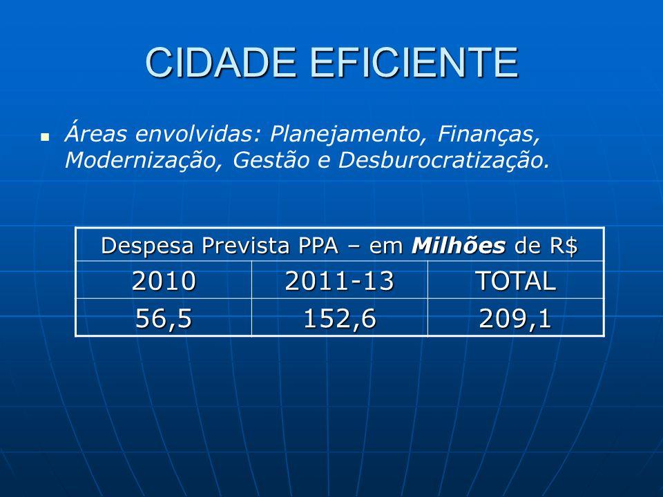 CIDADE EFICIENTE Despesa Prevista PPA – em Milhões de R$ 20102011-13TOTAL 56,5152,6209,1 Áreas envolvidas: Planejamento, Finanças, Modernização, Gestão e Desburocratização.