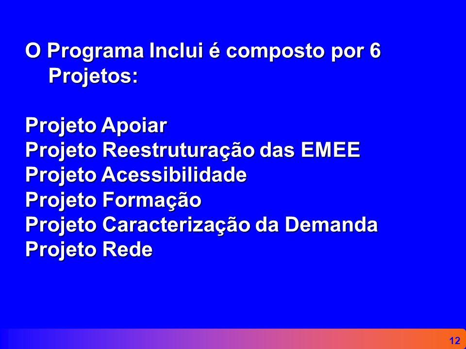 12 O Programa Inclui é composto por 6 Projetos: Projeto Apoiar Projeto Reestruturação das EMEE Projeto Acessibilidade Projeto Formação Projeto Caracte