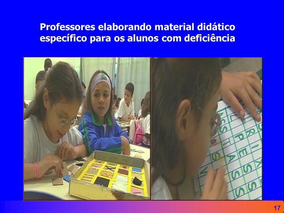 17 Professores elaborando material didático específico para os alunos com deficiência