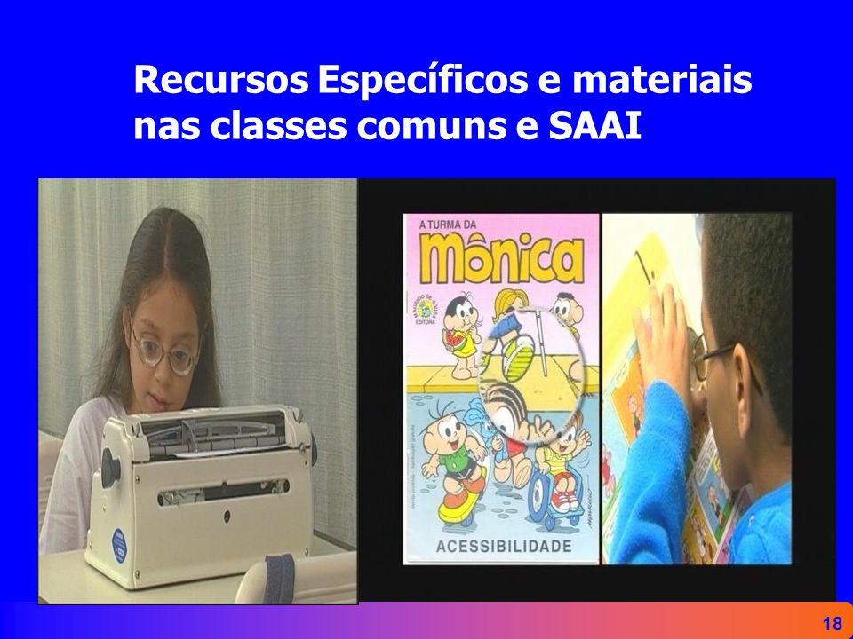18 Recursos Específicos e materiais nas classes comuns e SAAI
