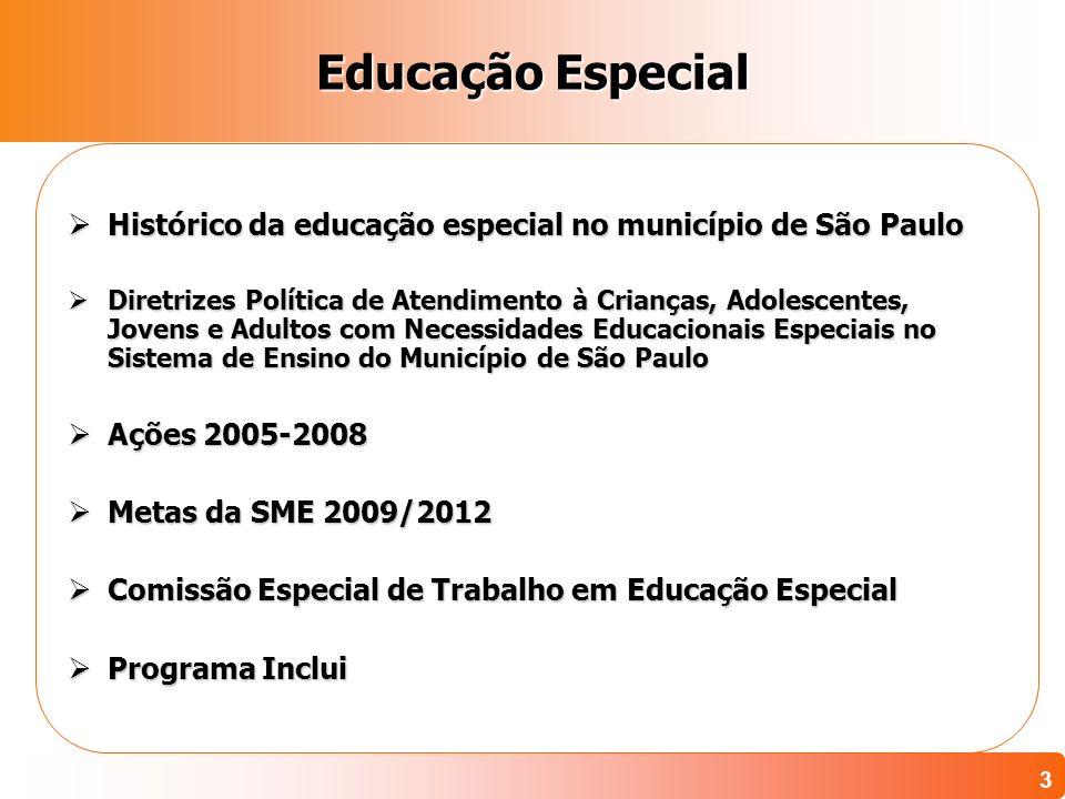 3 Educação Especial Histórico da educação especial no município de São Paulo Histórico da educação especial no município de São Paulo Diretrizes Polít