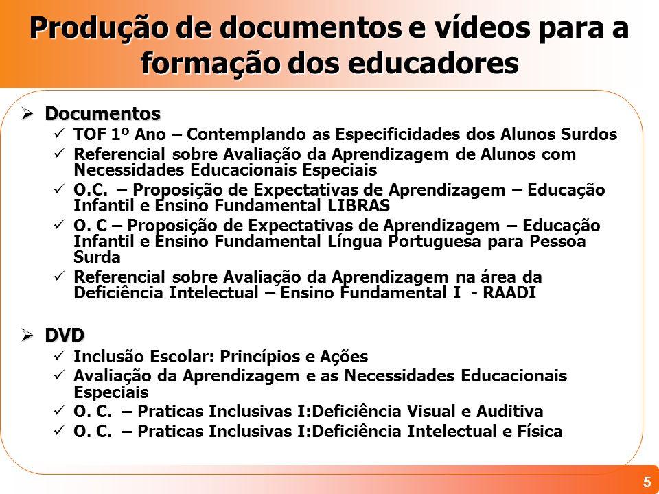 5 Produção de documentos e vídeos para a formação dos educadores Documentos Documentos TOF 1º Ano – Contemplando as Especificidades dos Alunos Surdos