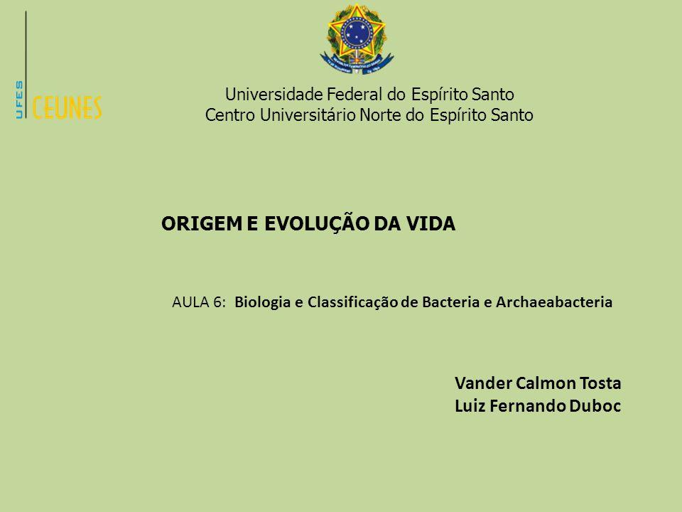 Universidade Federal do Espírito Santo Centro Universitário Norte do Espírito Santo ORIGEM E EVOLUÇÃO DA VIDA AULA 6: Biologia e Classificação de Bact