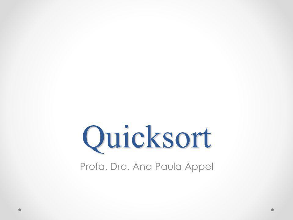 Quicksort Profa. Dra. Ana Paula Appel