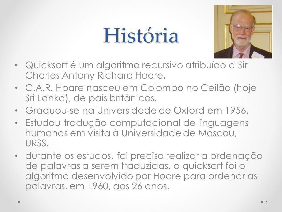 História Quicksort é um algoritmo recursivo atribuído a Sir Charles Antony Richard Hoare, C.A.R. Hoare nasceu em Colombo no Ceilão (hoje Sri Lanka), d